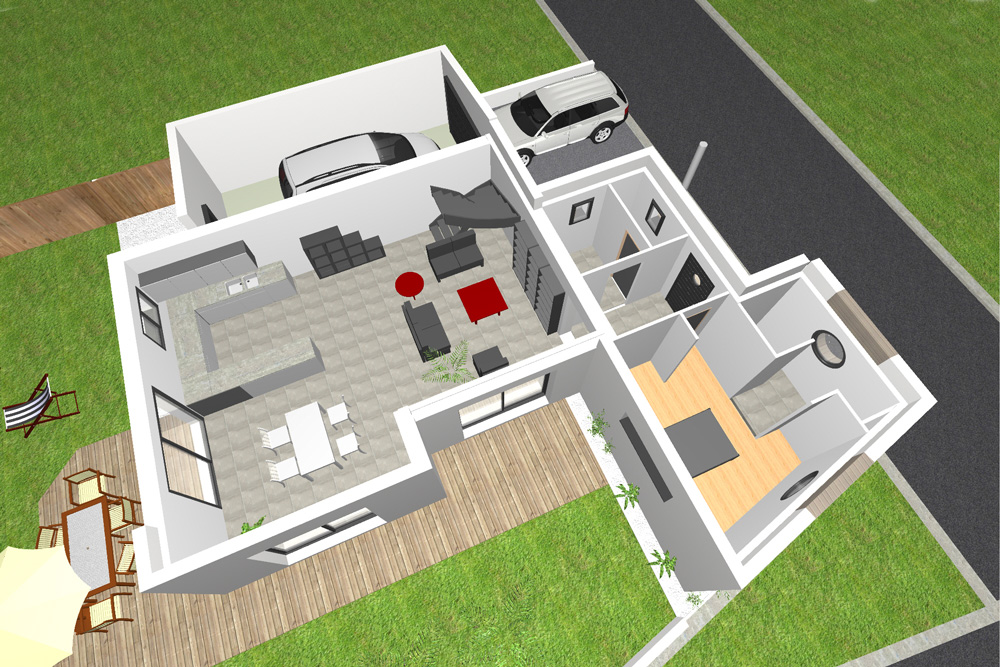 plan maison 4 chambres contemporaine
