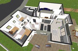 Maison contemporaine 3 chambres crea11 for Plan maison 3d moderne