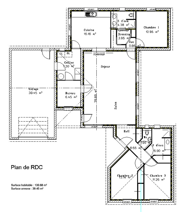 maison contemporaine 3 chambres crea03 On plan maison chambre parentale separee
